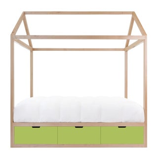 Domo Zen Twin Canopy Bed in Maple With Green Finish Drawers For Sale