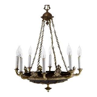 Vintage Empire Bronze and Black Tole 8 Light Chandelier For Sale
