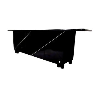 1970s Mid-Century Modern Pierre Cardin Black Lacquered Sideboard Credenza For Sale