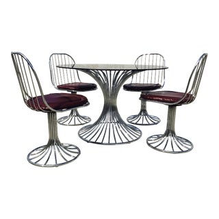 Modern Chrome Platner Style Dining Set For Sale