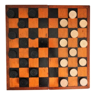 Antique English Chess & Checkers Game & Pieces