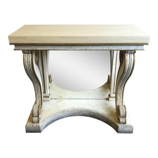 Niermann Weeks Blenheim Console With Wood Top and Mirror Back For Sale