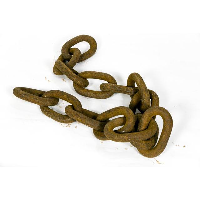 Brown Gigantic Sculptural Antique Iron Chain For Sale - Image 8 of 9