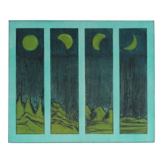 """""""Phases of the Moon"""", Mid Century Colored Etching With Turquoise For Sale"""