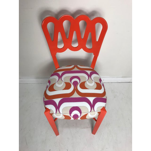 Textile Newly Lacquered Dining Chairs - Set of 5 For Sale - Image 7 of 8