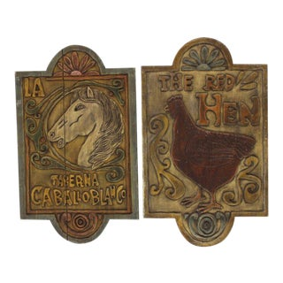 Pair of Wooden Folk Art Signs from Mexico
