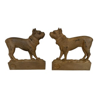 Antique Gilt Iron Doggie Bookends -A Pair For Sale