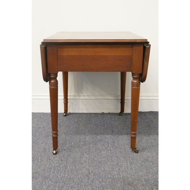Americana 20th Century Tradiitonal Statton TruType Americana Solid Cherry Drop Leaf Pembroke End Table For Sale - Image 3 of 13