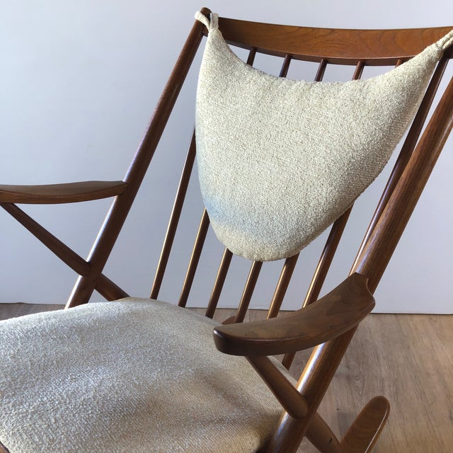 Antique White Newly-Upholstered Frank Reenskaug Teak Rocking Chair for Bramin For Sale - Image 8 of 11