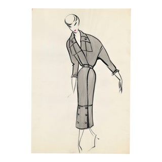 Original French Fashion Drawing For Sale