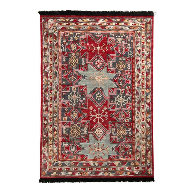 Rug & Kilim's Classic Style Rug in Red and Blue Geometric Pattern For Sale