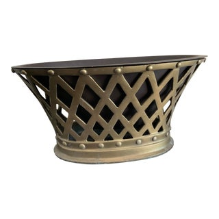 Brass Basket Weave Cachepot With Metal Liner by Ballard Design For Sale
