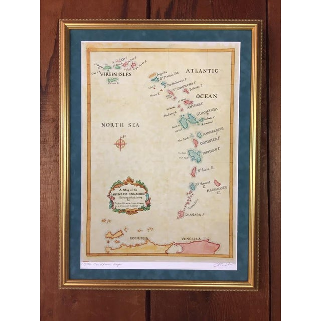 Watercolor Painting of Caribbean West Indies Map - Image 2 of 7