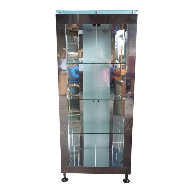 1990s Vintage Chrome Illuminated Modern Display Cabinet For Sale