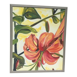 2010s Contemporary Painting of Tigerlilly Signed Valerie Limozin