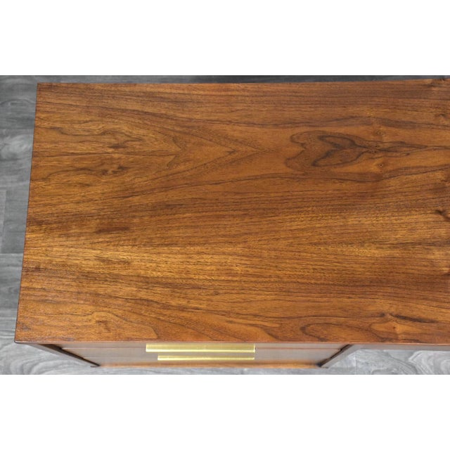 Brass Kent Coffey Tableau Walnut and Brass Desk For Sale - Image 7 of 12