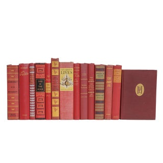 Midcentury Red With Yellow Accent Book Set, (S/14) For Sale