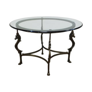 Quality Steel Cheval Horse Round Glass Top Center Table For Sale