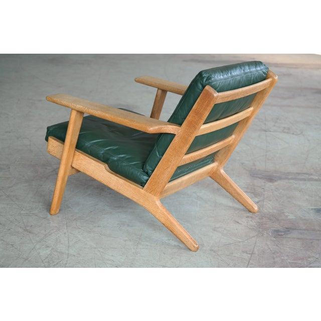 Green Hans Wegner Highback Lounge Chair Model GE290 for Getama Oak and Green Leather For Sale - Image 8 of 11