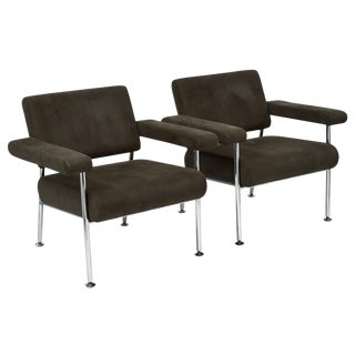 Vintage Modernist Chrome and Ultra-Suede Armchairs-A Pair For Sale