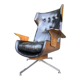 Mid Century Modern Swivel Lounge Leather Chair For Sale