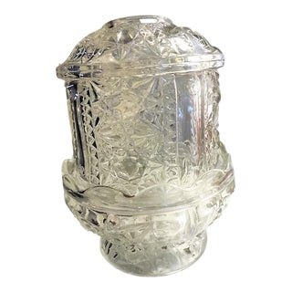Wexford Anchor Hocking Heavy Cut Glass Footed Fairy Lite Candle Lamp For Sale