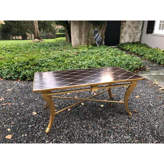Gold Amy Howard Inlaid Wood Coffee Table For Sale - Image 8 of 12