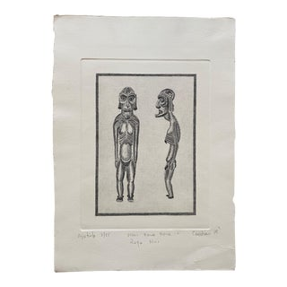 """20th C. Standing """"Moai Kavakava"""" Etching by Rapa Nui Artist Ricardo Candiani For Sale"""