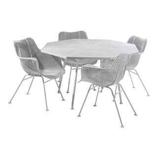 """Russell Woodard Sculptura Set 28"""" Octagonal Dining Table Four Arm Chairs 1960s For Sale"""