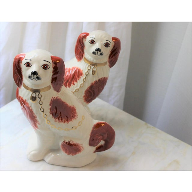 1950s 1950s Figurative Staffordshire Ceramic Spaniels Dogs - a Pair For Sale - Image 5 of 13