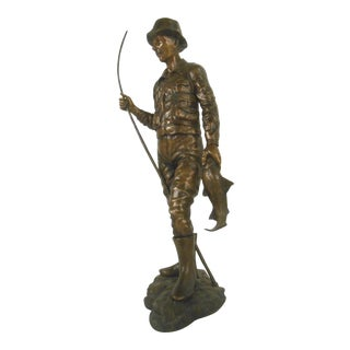 Detailed Bronze Fisherman Statue Signed For Sale