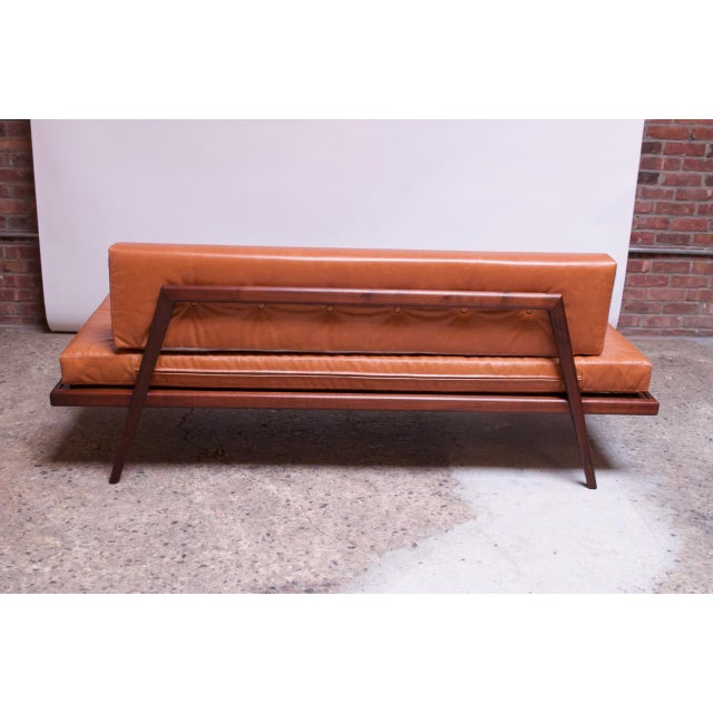 Brown Mid-Century Walnut and Leather Daybed / Settee by Mel Smilow For Sale - Image 8 of 13