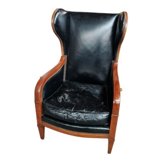 Baker Campaign Style Black Leather Morris Chair