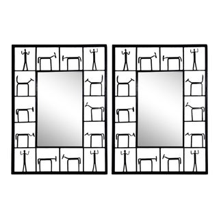 (2) 1950s Frederick Weinberg Wrought Iron Brutalist Sculpture Wall Mirrors - a Pair For Sale