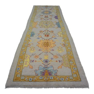 1990s Turkish Contemporary Wool Oushak Runner Rug For Sale