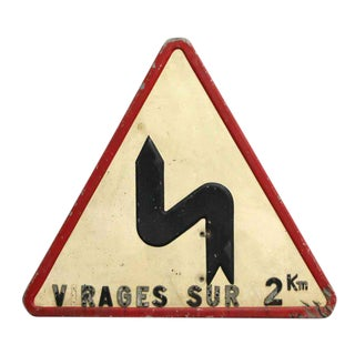 French Triangular Road Sign For Sale