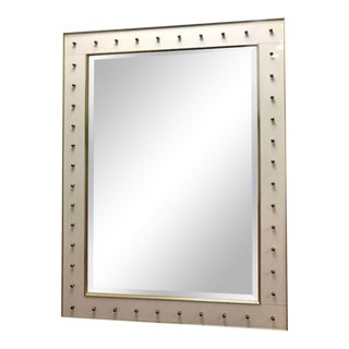 1950s Modernist White Glass Brass Accent Mirror For Sale
