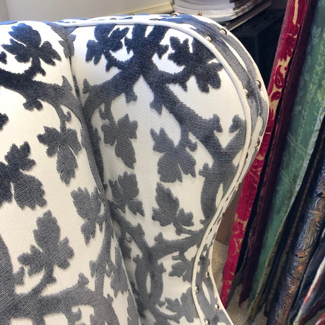 Textile Traditional Black and White Textile Wingback Chair For Sale - Image 7 of 8