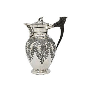 Antique Silver-Plate Wine Jug W/ Stag Horn Handle For Sale