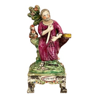 """Circa 19th Century """"St. Peter"""" Staffordshire Figure, England For Sale"""