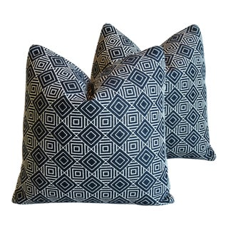 "Midcentury Alexander Girard Abstract Feather/Down Pillows 20"" Square - Pair For Sale"