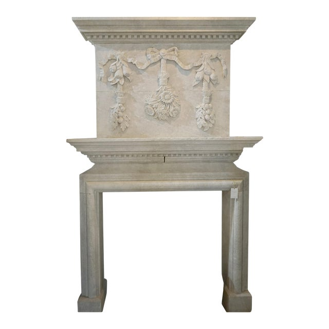 Hand Carved Mantel with Trumeau For Sale