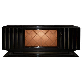 French Ebonized Mahogany Credenza with Mirrored Doors For Sale