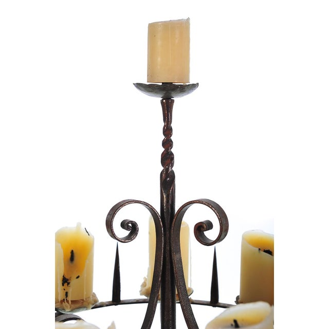 Gothic Spanish Revival Wrought Iron 8 Arm Candle Holder For Sale - Image 3 of 10