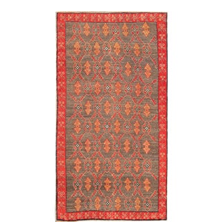 Vintage Turkish Tulu Rug With a Modern Design in Charcoal Background For Sale