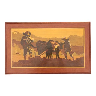 Working The Field - Wood Grain Marquetry Plaque