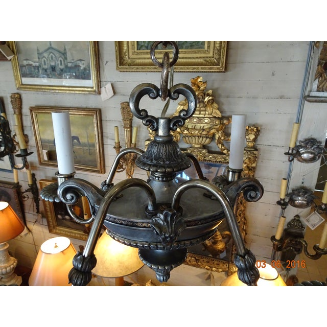 Small French 19th Century Pewter Chandelier For Sale In New Orleans - Image 6 of 11