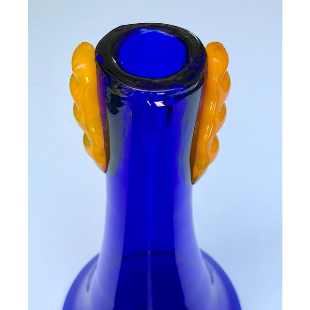 Modern A Rare Set of 3 Blenko 1980's Cobalt Glass Flared Vases With Applied Orange Decoration For Sale - Image 3 of 4