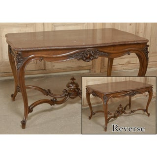 19th Century French Louis XV Rouge Marble Top Walnut Library Table Preview