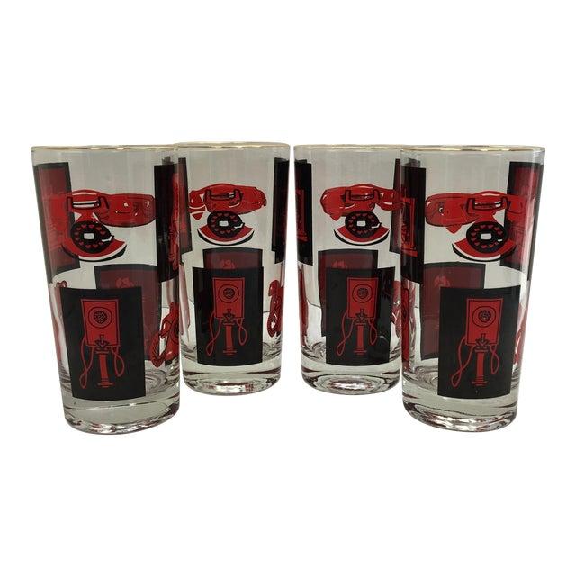 Black, Red & Gold Highball Glasses - Set of 4 - Image 1 of 7